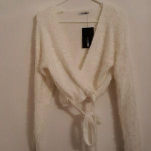 Fashion Nova Ivory Fuzzy Cropped Tie Sweater